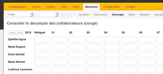 ec03761ae95 Vous pouvez sélectionner dans le menu déroulant le type de congés (ici congés  payés) ainsi que l utilisateur en question (choisissez