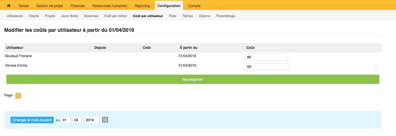 page montrant comment configurer le montant du coût par utlisateur