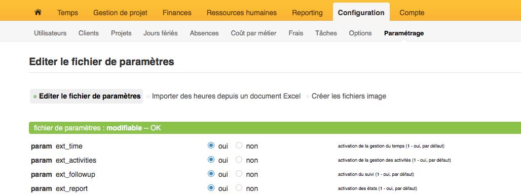 Se référer au menu horizontal d'Opentime configuration et paramétrage