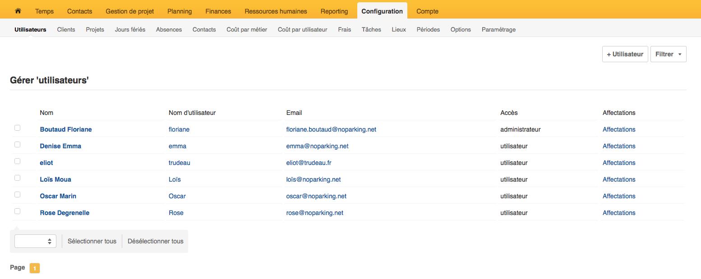 Se référer au menu horizontal d'Opentime configuration et utilisateurs