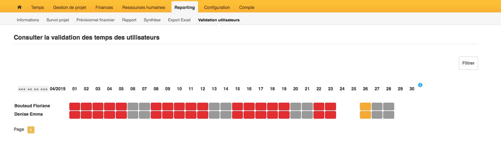 page permettant de consulter la validation du temps des outils