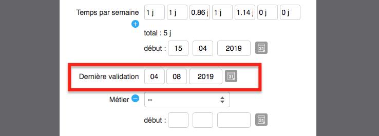 Modifier la date de dernière validation