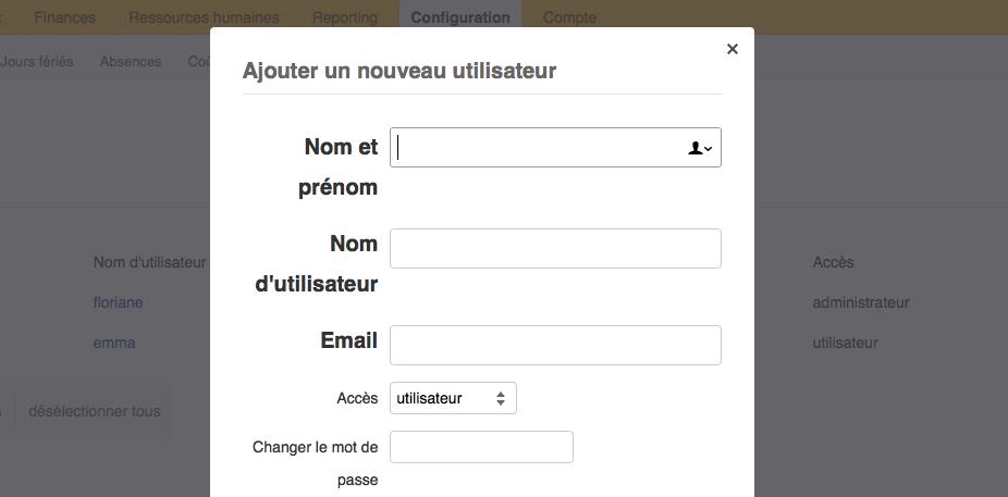 formulaire d'entrée pour créer un nouvel utilisateur