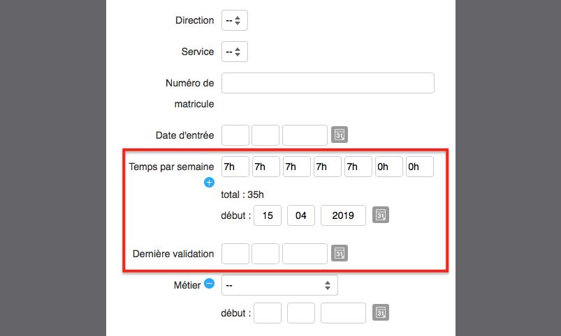 renseigner les temps par semaine et dernière validation pour configurer le profil de l'utilisateur