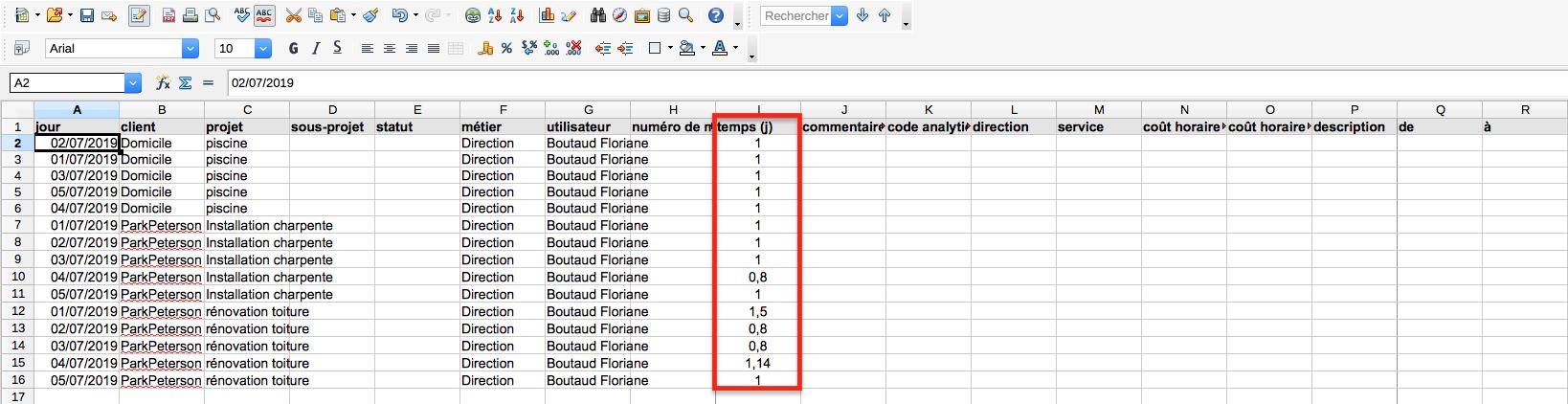 Export Excel en jour