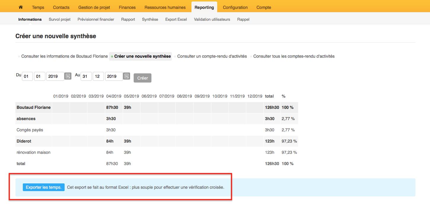 Exporter la synthèse au format Excel