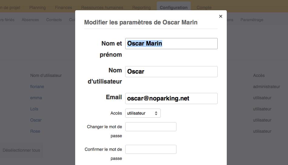 Fiche de paramétrage de l'utilisateur Oscar Marin