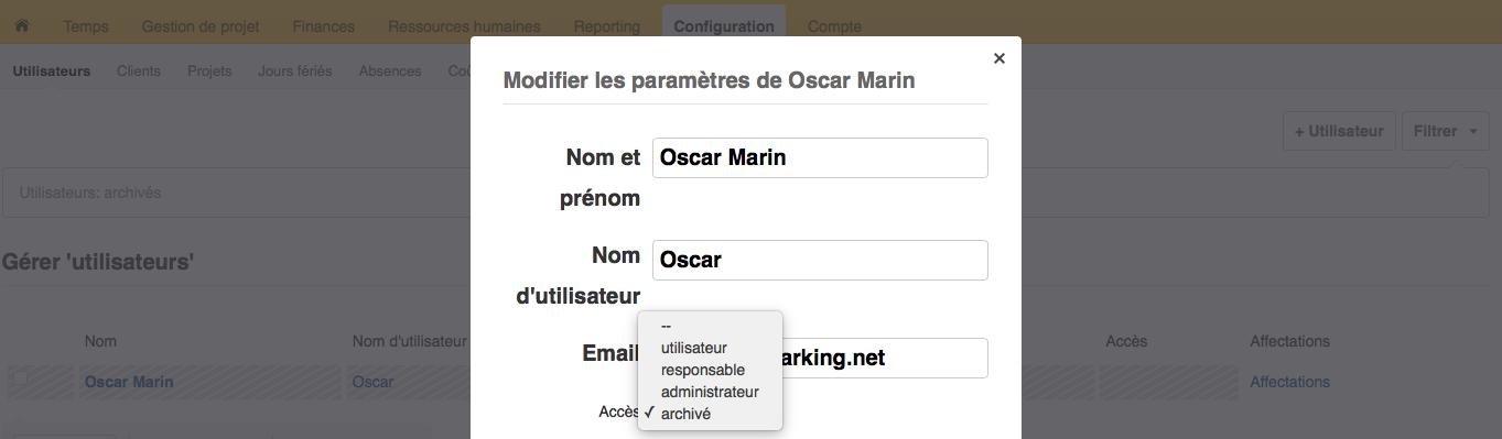 Modifier l'accès de l'utilisateur