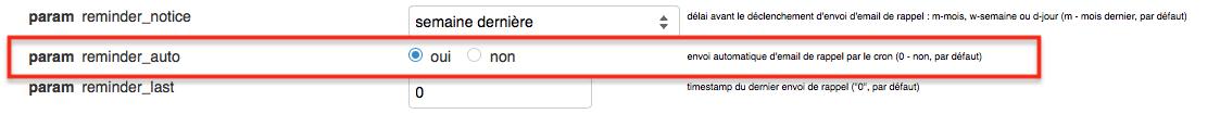 Activer le paramètre param reminder_auto