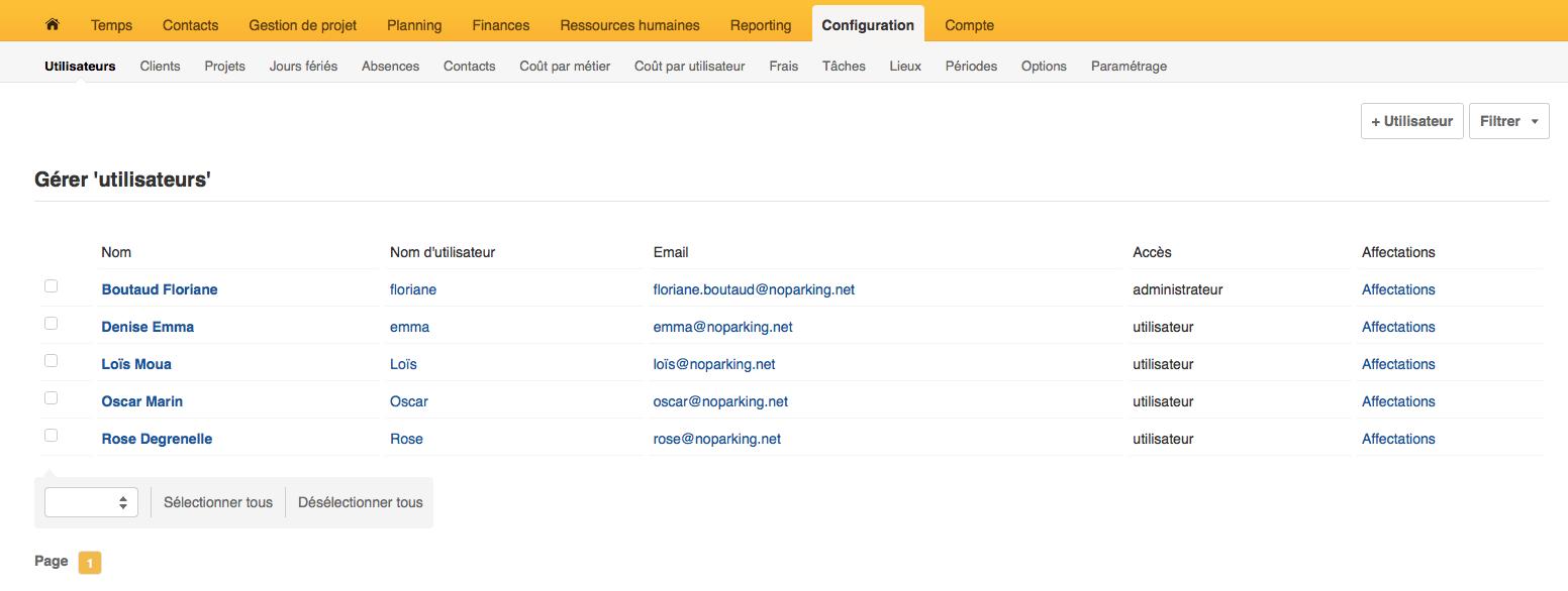 Se référer au menu horizontal en sélectionnant Configuration puis Utilisateurs