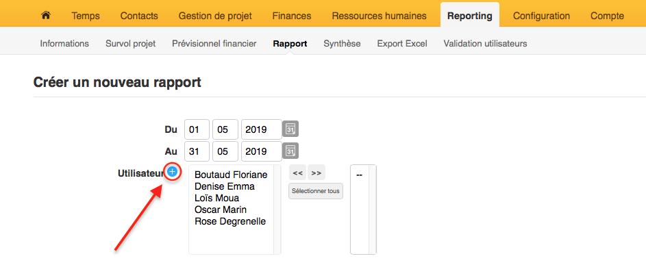 Généner un rapport avec un utilisateur archivé spécifique
